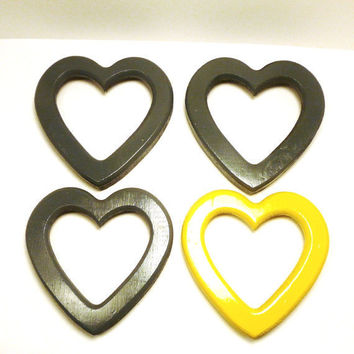 heart mirror set  //  yellow and grey gray  //  hearts, mirrors, wood  //  mod home decor  //  upcycled frames, wall decor