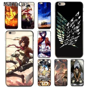 Cool Attack on Titan MaiYaCa  wings of dom Anime Diy Printing TPU phone case for Apple iPhone 8 7 6 6S Plus X 5 5S SE 5C Cover AT_90_11