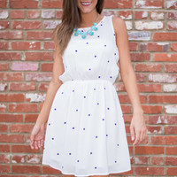 The Dottie Dress, White-Navy