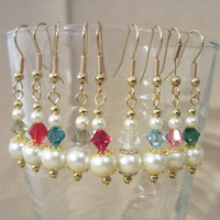 Handmade Graduated Off White Pearl & Colored Crystal Dangle Earrings, Classic, Elegance, Simple, Sophisticated, Colorful, Fashion Jewelry