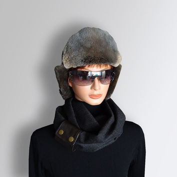 Infinity Scarf Dark Gray Black Men Women Unisex very Soft Polyester Scarf Cozy with Natural Leather Cuff by Elena Joliefleur