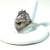 Equestrian Horse Silver Ring Sterling Elegant Detailed Equine Riding Dressage Jewelry Southwest Cowgirl Cowboy