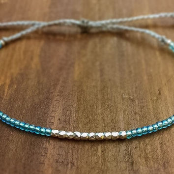 Silver Nugget Best Friend Gift - Friendship Bracelet - Bridesmaid Gift - Beaded Bracelet - Bridesmaid Jewelry - Boho Jewelry