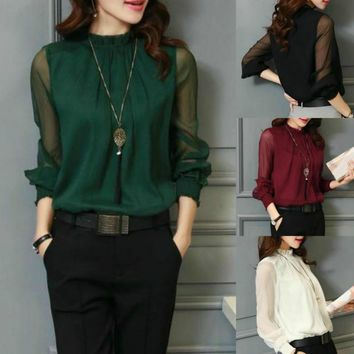 5color Deep Green Lantern Sleeve High Neck Blouse Plus Size