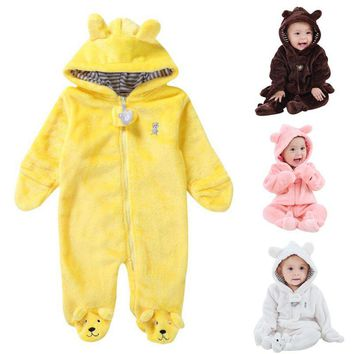 Autumn Winter Baby Rompers Bear Newborn Baby Coral Fleece Brand Hoodies Jumpsuit Baby Girls Boys Romper Toddle Clothing Summer