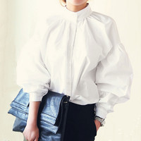 Women Lantern Sleeve Blouse 2016 Ladies Fashion Long Cotton Tops Female Vintage Oversize Loose Stand Collar Puff White Shirts