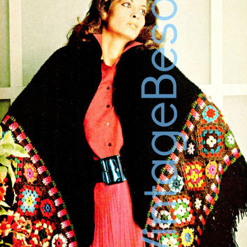 Instant Download pdf Brilliant Fashion Wrap Pattern KNITTING & CROCHET Knitted black main shawl wrap section w/a Granny Square Sexy border