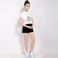 Summer Woman Fashion Lovely Elephant Print Casual Crop-top Sweet Short Sleeve Tees