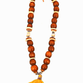 Yellow Tassel Necklace with Large Wood Beads