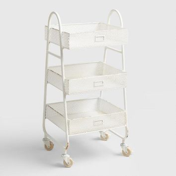White Metal Ginger Rolling Cart