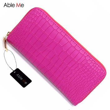 New AbleMe Fashion Women Purses Vintage Alligator Wallet Zipper Clutch Bag Fashion Design Female Leather Wallets Brand Purse