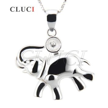 CLUCI women jewelry elephant necklace Shape 925 sterling silver necklace pearl pendant accessories, can stick pearl on