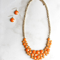 Gamedy Crowd Necklace and Earring Set in Light Orange