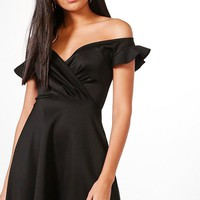 Alecta Frill Off Shoulder Skater Dress | Boohoo