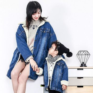 Family Look 2018 winter Fashion Mother Baby clothes Mommy and Me Clothes Family Clothing Lambskin jacket Family Matching Outfits