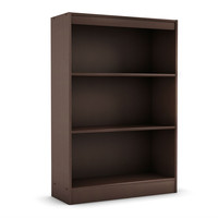 3-Shelf Modern Bookcase in Dark Brown Chocolate Wood Finish