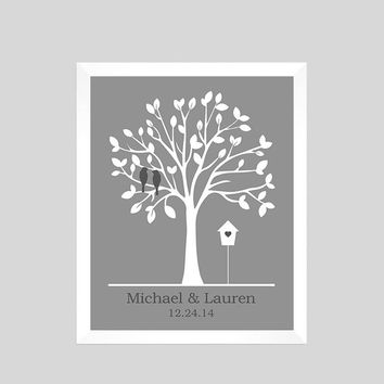 Wedding Print, Unique Wedding Gift, Family Tree Print, Gift for Wife, Personalized Custom Love Birds, Wedding Art, CUSTOMIZE YOUR COLORS