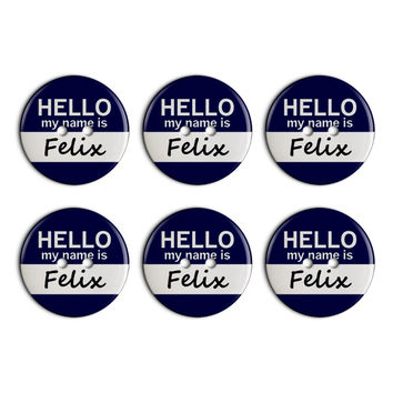 Felix Hello My Name Is Plastic Resin Button Set of 6