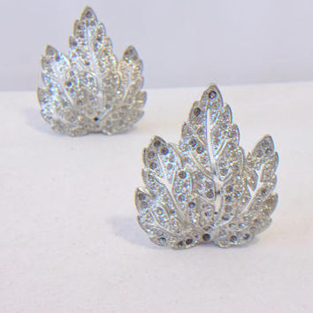Vintage Leaf Shoe Clips Rhinestone Fashion Accessories For Her Nature Lover