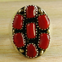 Blood Red Coral Navajo Native American Ring Large Size 11 Boho Jewelry