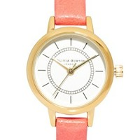 Olivia Burton Coral Leather Vintage Style Watch at asos.com