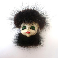 Dazzling Vintage Brooch - Pin - Porcelain Woman Face in Fake Fur Hat