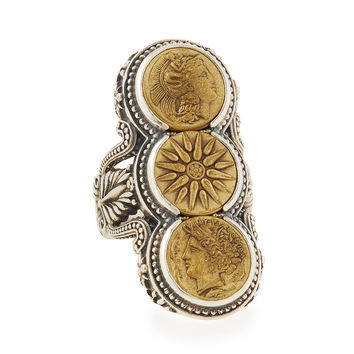 Silver & Bronze Triple Coin Ring - Konstantino