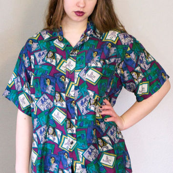 90s Vinyl Records Print Silk Shirt / Oversized Novelty Print Collared Button Up Unisex Grunge Hipster / Men's S Women's L