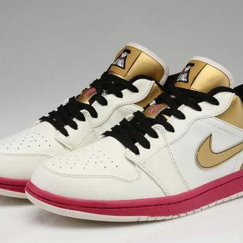 ESBON3V Nike Air Jordan Retro Low Fuchsia & Gold Soldier Limited Edition Men Basketball Shoes