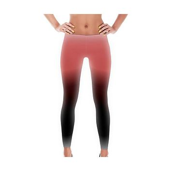 Ombre Coral/Black Full Pant Women's Leggings