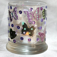 Heavy Bottomed Glass Candle Holder Purple Butterlies and Sequins Tea Light Holder Decoupaged Home Decor Decoration