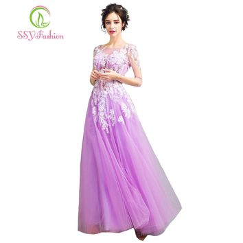 New Sweet Light Purple Lace Evening Dress Romantic Beautiful Half-sleeved The Bride Banquet Long Prom Party Gown