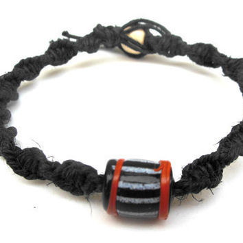 Hemp Bracelet Halloween Bead Orange Black White
