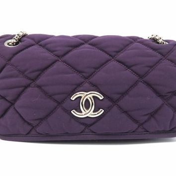 Chanel Quilting Cloth Silver Metal Flap Bag Purple