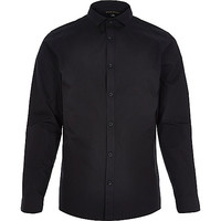 River Island MensBlack long sleeve shirt