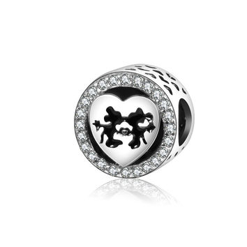 Mickey & Minnie's Kiss Bead Fit Pandora charm Bracelets Original 925 Sterling Silver Bead 2016 Winter Charm With CZ Stone