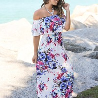 Ivory Floral Off Shoulder Maxi Dress