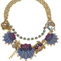 """Betsey Johnson """"Into The Blue"""" Seashell Critter Necklace, 14''+3'' Extender"""
