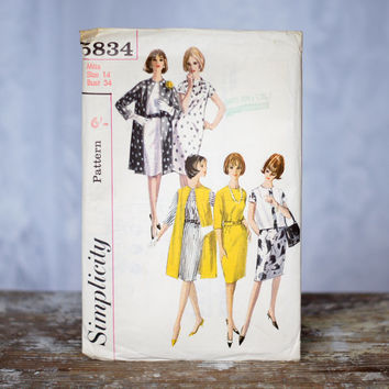 Vintage 1960s Shift Dress and Coat Sewing Pattern Simplicity 5834, Size 14 Medium Womens One-Piece Belted Dress and Coat or Jacket