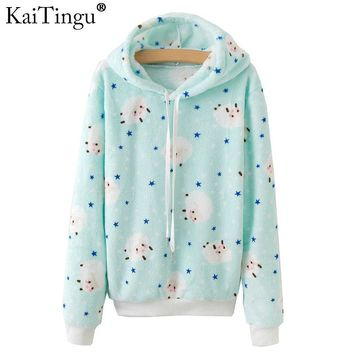 KaiTingu Brand Kawaii Sheep Panda Print Hoodies Women Autumn Winter Long Sleeve Sweatshirt Harajuku Tracksuit Jumper Pullover