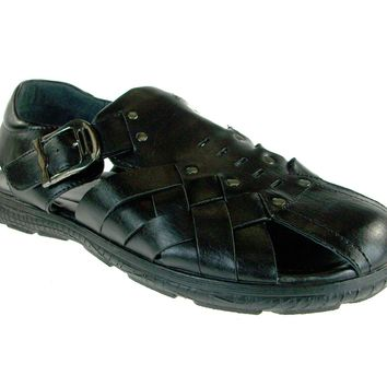 Mens Majestic Interlace Strap Buckle Sandals 72313 Black