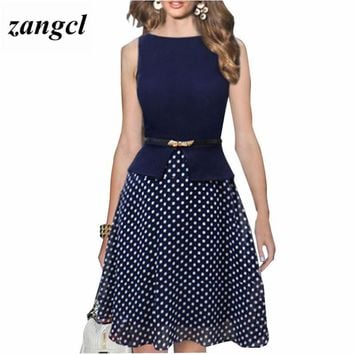 Zangcl Summer Dress Dark Blue Polka Dot Dresses Garment Women Casual Dress Print Chiffon Ladies Elegant Ladies Clothing