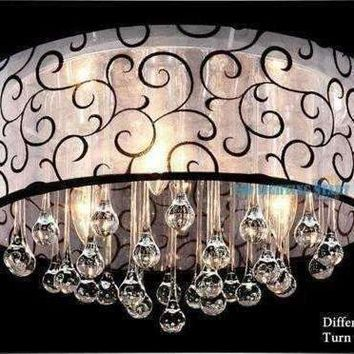 2015 Modern Brief Black Fabric Lampshade Crystal Chandeliers AC90-260V Diameter 40cm High 28cm 3* E14 Light Source