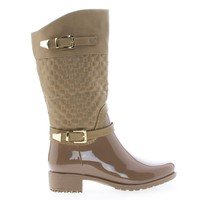 Fatima27K Taupe Pu By Link, Children's Girls Mid Calf Quilted Buckled Shaft Rain Boots