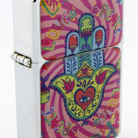 Windproof Customized Chrome Oil Lighter - Pink Hamsa Hand #2 - Collectable, Refillable, Damn Cool. :)
