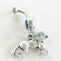 Lion 14 gauge stainless steel belly button navel rings, body jewelry, 14g