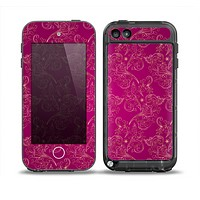 The Pink and Yellow Floral Vine Pattern Skin for the iPod Touch 5th Generation frē LifeProof Case
