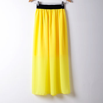 2015 New Summer Chiffon Skirt Casual Style Solid Skirts Free Shipping Black Sashes Empire Mid-Calf Skirts 20 Colors Free Size