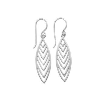 """Polished Cut Out """"V"""" Design Drop Earrings"""