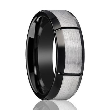 Two Tone Tungsten Men's Pinky Ring with Multiple Brushed Vertical Grooves Beveled Edges - 8MM